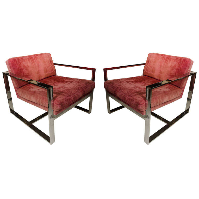 Pair Of Baughman Chrome Chairs 1