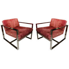 Pair Of Baughman Chrome Chairs
