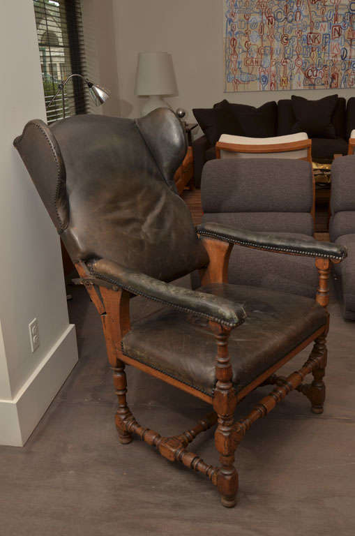 French Antique Reclining Patinated Leather Fauteuil Malade Armchair with Three Settings For Sale