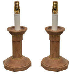 Pair of Oak Candlesticks Converted into Lamps