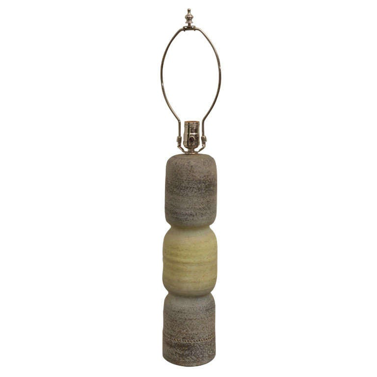 Gray and Green Ceramic Lamp For Sale