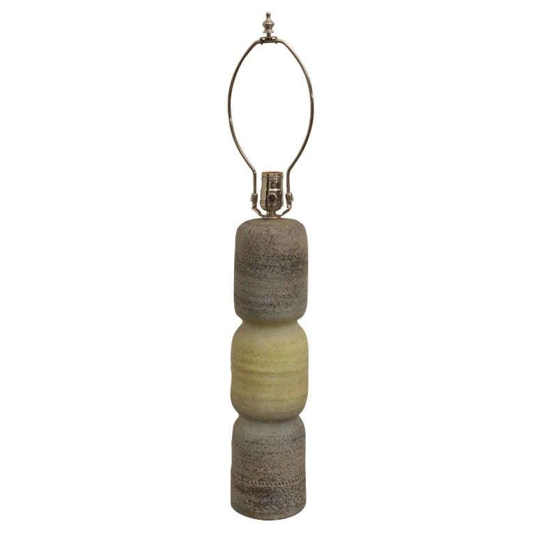 Gray and Green Ceramic Lamp 1