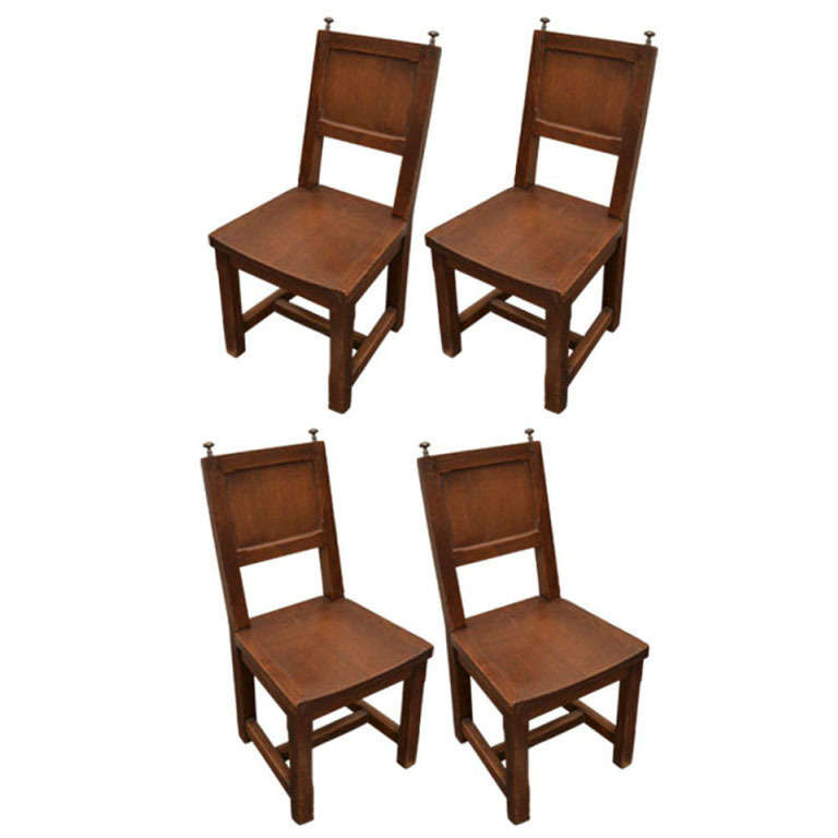 4 Dining Room Chairs For Sale: Set Of 4 Wooden Dining Chairs With Silver Finials For Sale