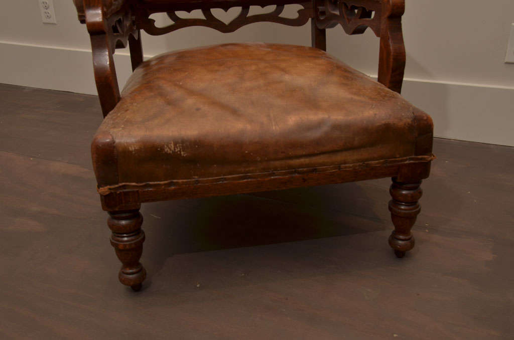 Pair of Gothic Style Leather + Oak Arm Chairs In Good Condition For Sale In East Hampton, NY