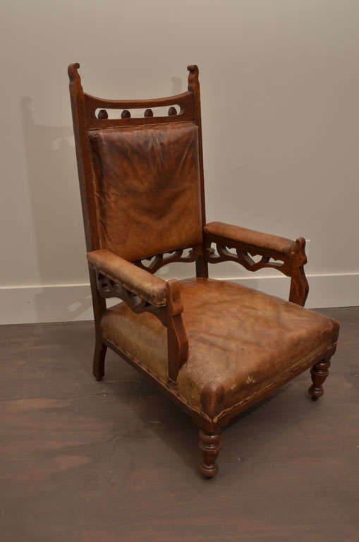 20th Century Pair of Gothic Style Leather + Oak Arm Chairs For Sale