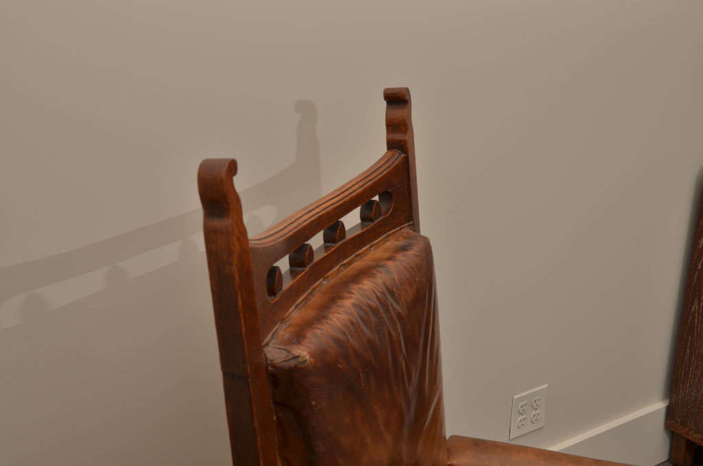 Pair of Gothic Style Leather + Oak Arm Chairs For Sale 1