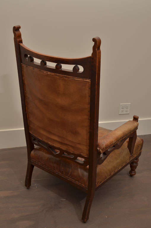 Pair of Gothic Style Leather + Oak Arm Chairs For Sale 2