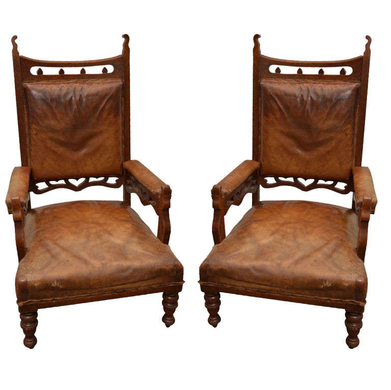 Pair of Gothic Style Leather + Oak Arm Chairs For Sale