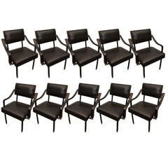 Set of 10 Jacques Adnet Arm Chairs