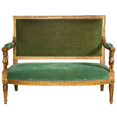 19th c Egyptian Revival Gilt Sofa