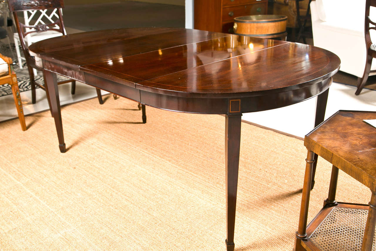 Oval mahogany banded table with three leaves by kindel at for 3 leaf dining room tables