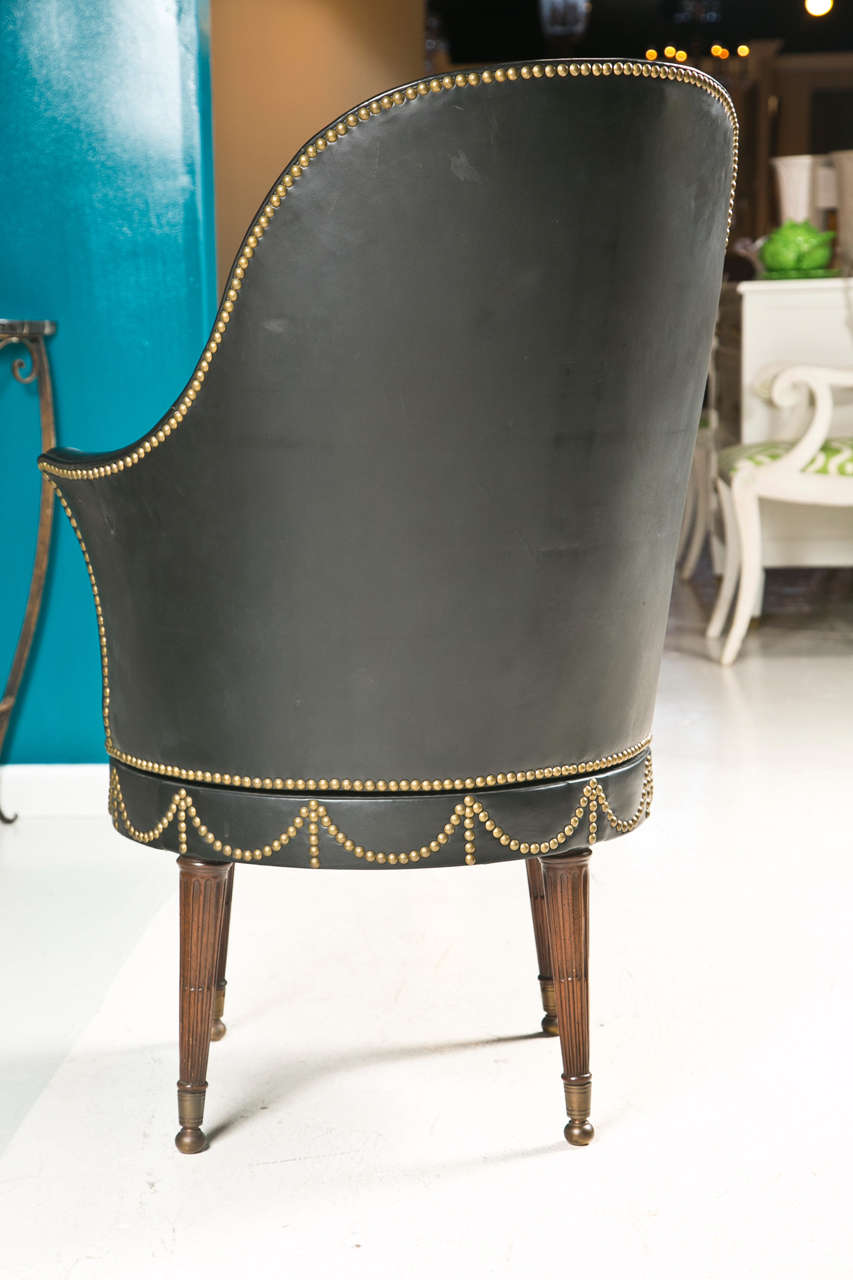 Black Leather Swivel Chair With Decorative Nailheads At