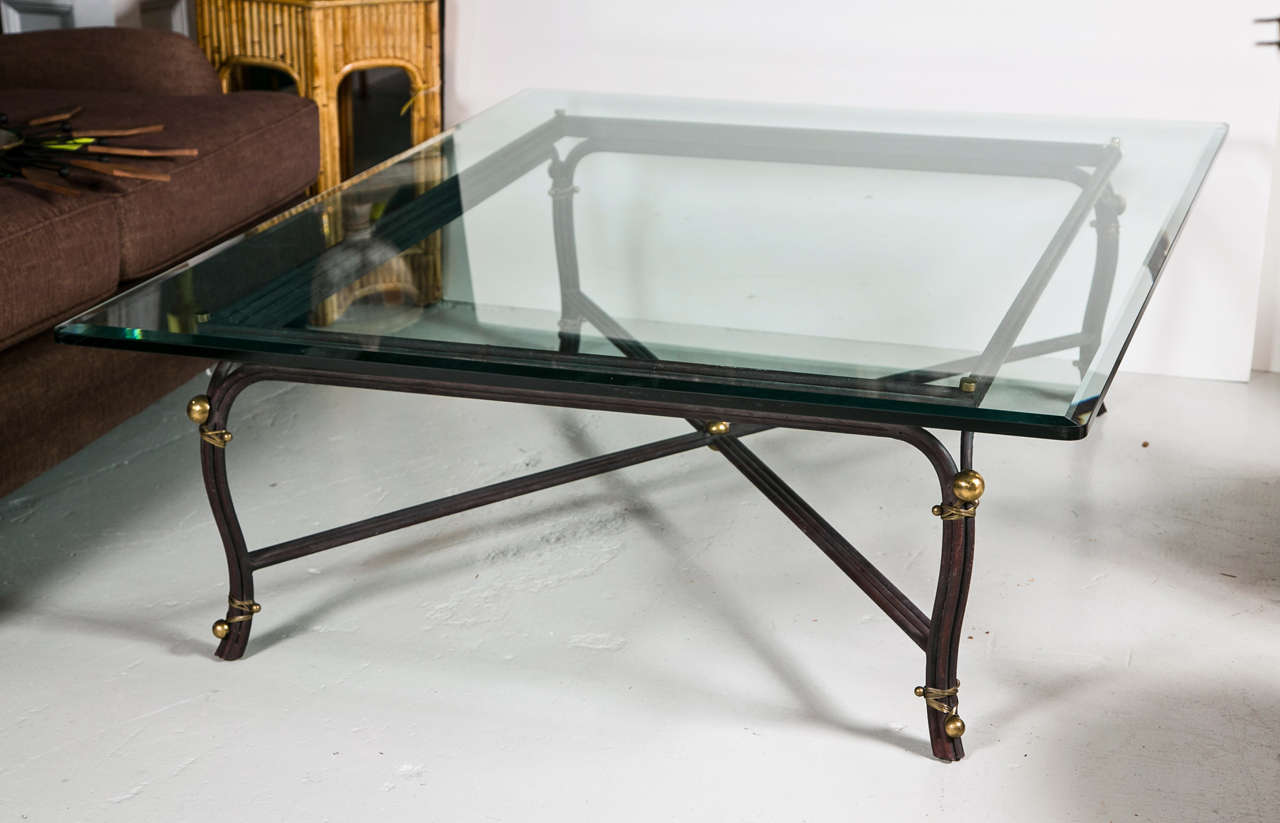 Large bronze base coffee table with beveled glass top at for Large glass coffee table