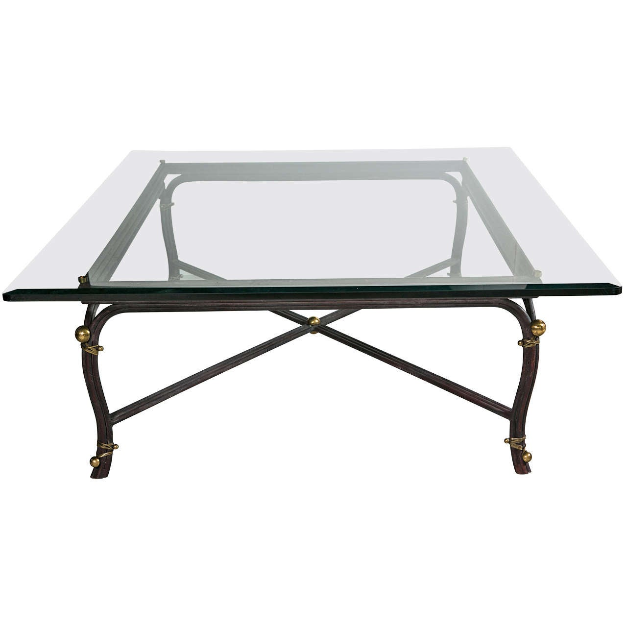 Large bronze base coffee table with beveled glass top at 1stdibs Glass coffee table base