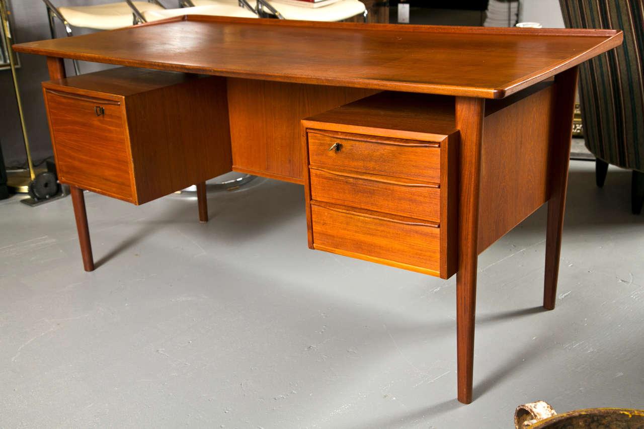 Mid-Century Teak Two Sided Desk At 1stdibs