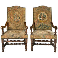 18th c Pr of Continental Walnut Armchairs with Petit Point Upholstery