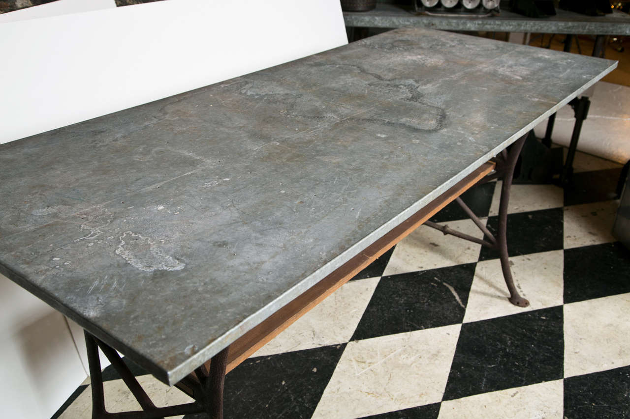 Industrial Tin Top Table With Wooden Shelf At 1stdibs