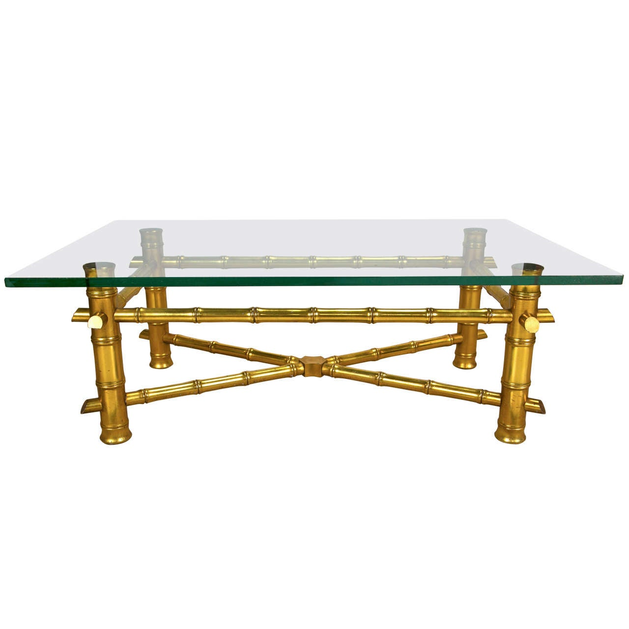 Faux Bamboo Gilt Coffee Table With Glass Top At 1stdibs