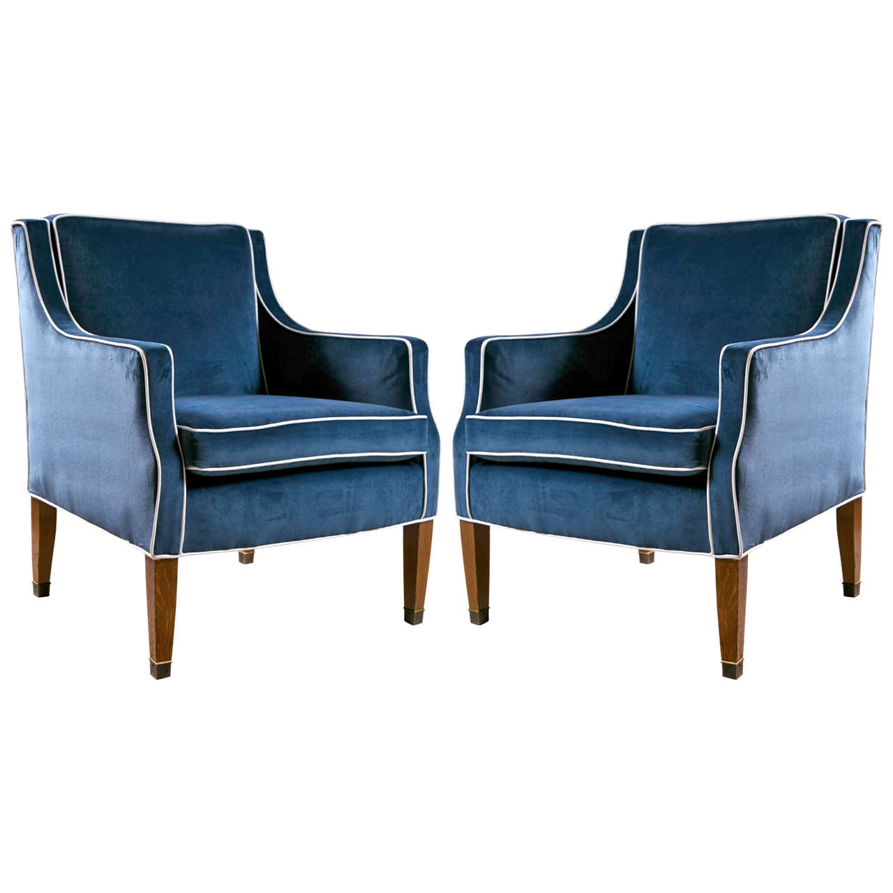 Bon Mid Century Club Chairs With Blue Velvet Upholstery For Sale