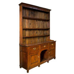 Antique English Oak sideboard with Shelved Hutch