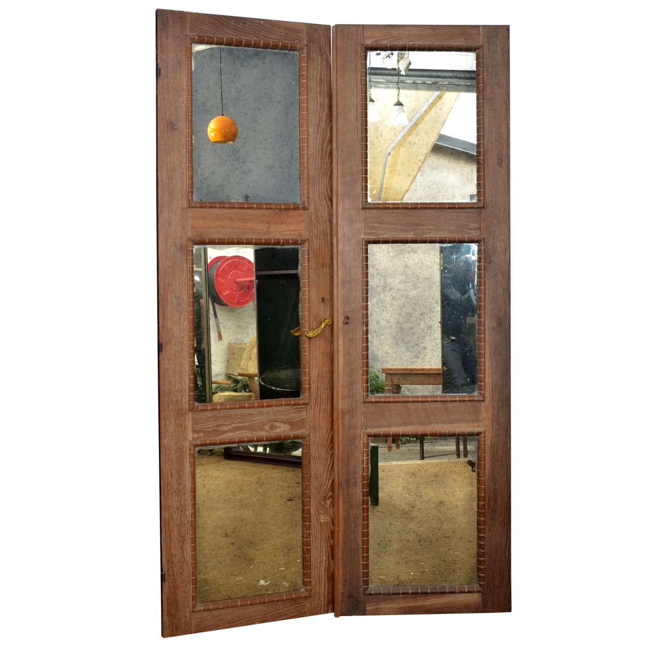 Rare pair of 1940s doors with eglomised mirror panels at for 1940 door hardware