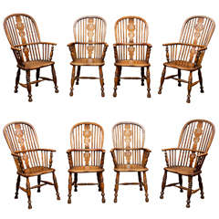 Set of Eight High-Back Windsor Armchairs, English, circa 1850