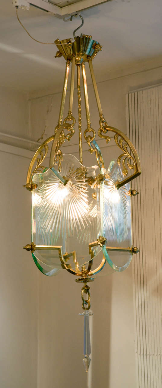 Rare Secessionist Bronze And Crystal Lantern At 1stdibs