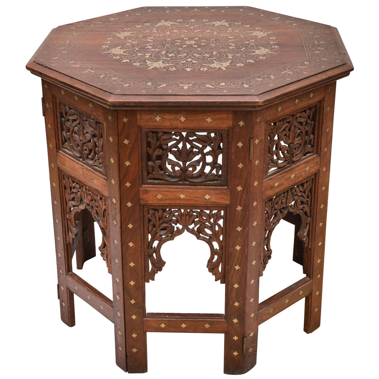 Octagonal Indian Teak with Brass Inlay Occasional Table at