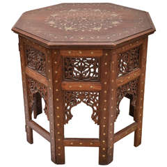 Large Octagonal Indian Teak with Brass Inlay Occasional Table