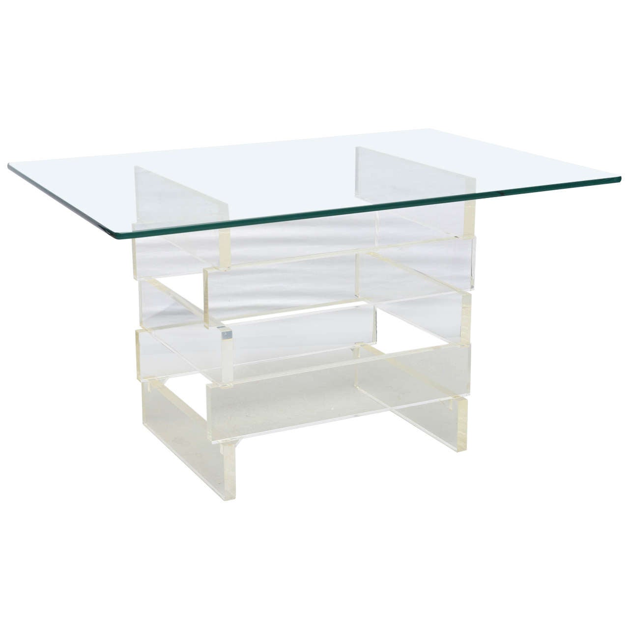 Stacked Block Lucite End Table, USA 1960s