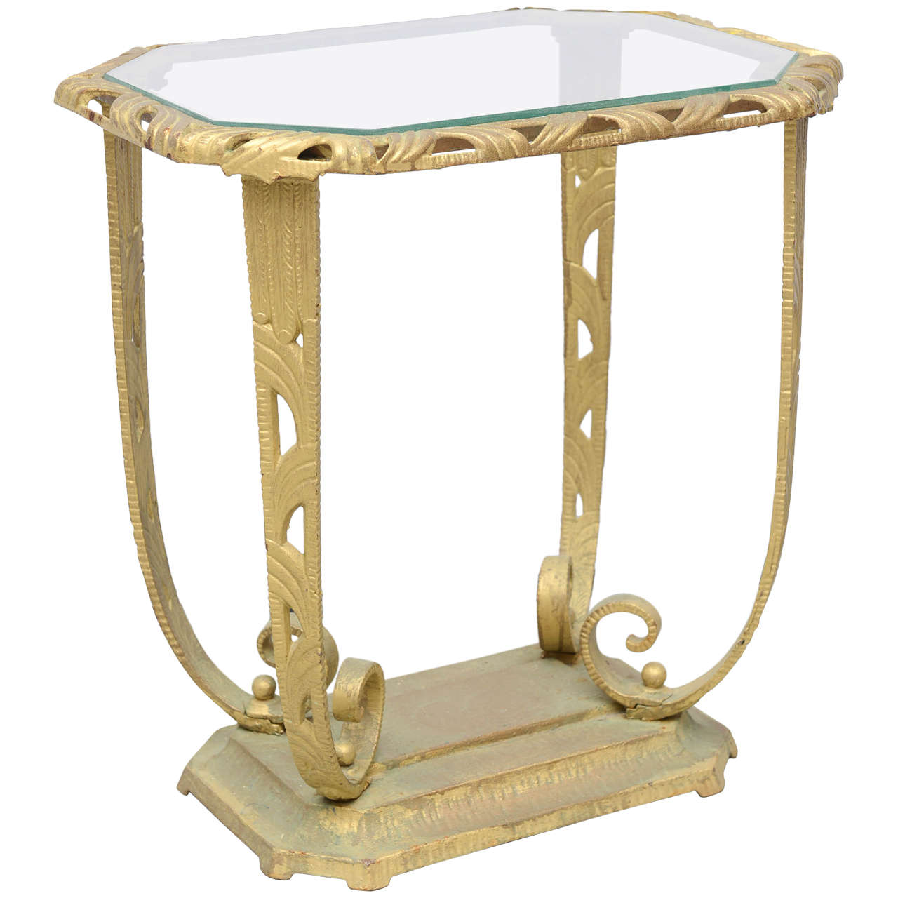 Gold And Glass Hollywood Regency Side Table, 1930 USA 1