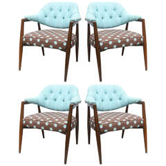 4 walnut upholstered arm chairs, USA 1960