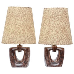 Pair of Gonder Lamps with Custom Shades, USA 1950