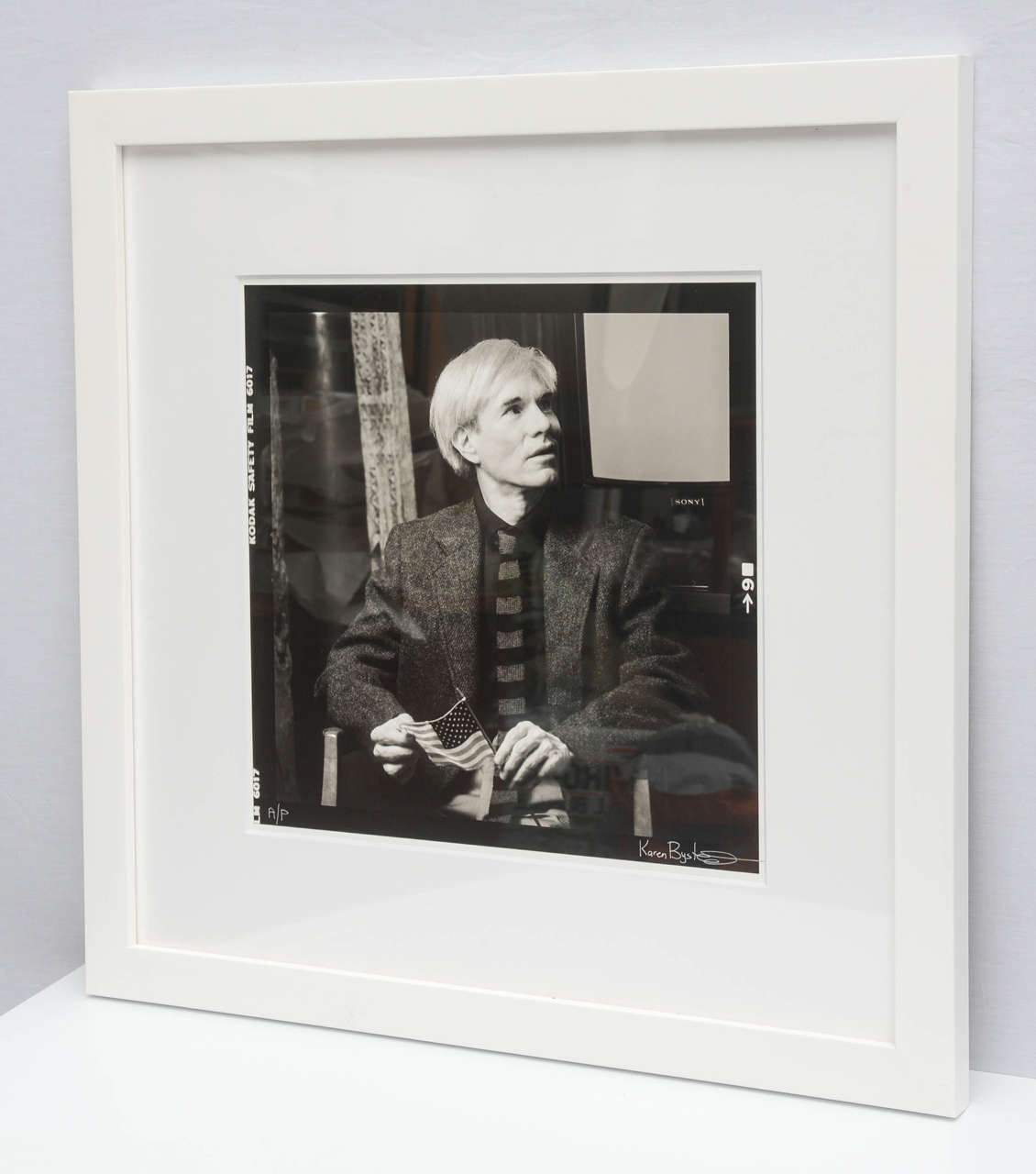 Gorgeous black and white Artists Proof photograph of Andy Warhol at the Factory 1980s New York by Karen Bystedt. Item comes framed.  Unframed, the photo is 15 x 15.