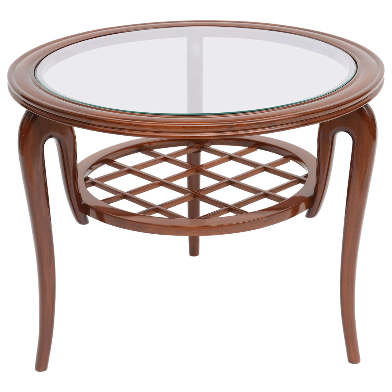 Italian modern mahogany and glass cocktail or occasional for Contemporary glass cocktail tables