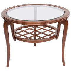 Italian Modern Mahogany and Glass Cocktail or Occasional Table