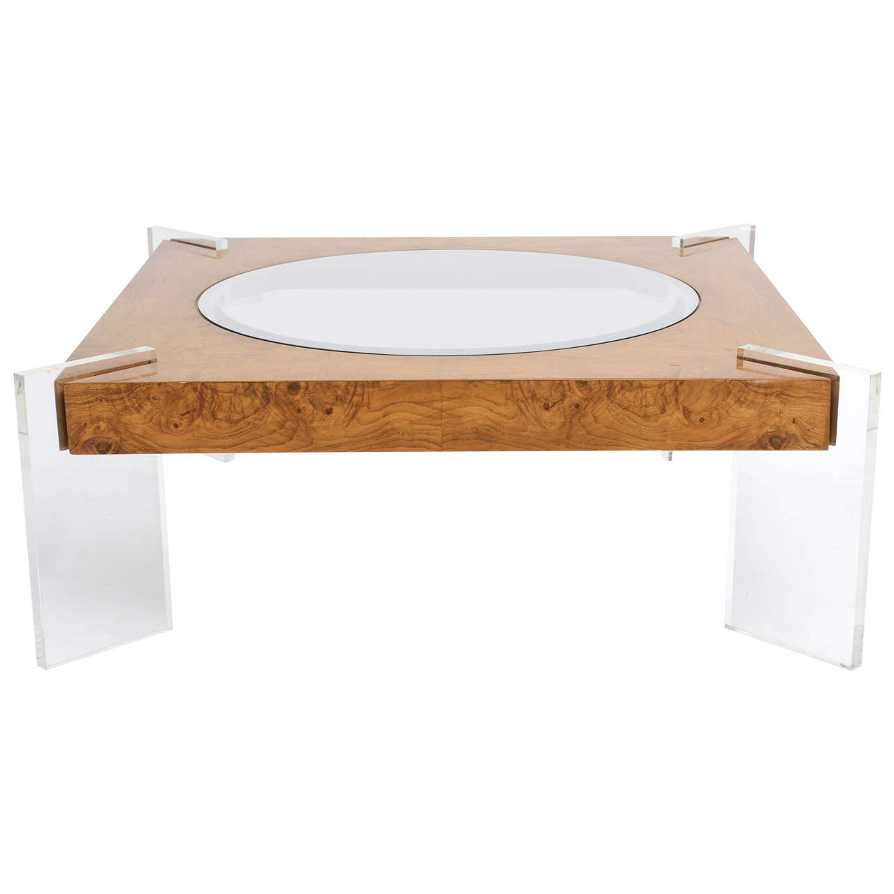 Burl Walnut Lucite And Glass Low Table Vladimir Kagan For Sale At 1stdibs