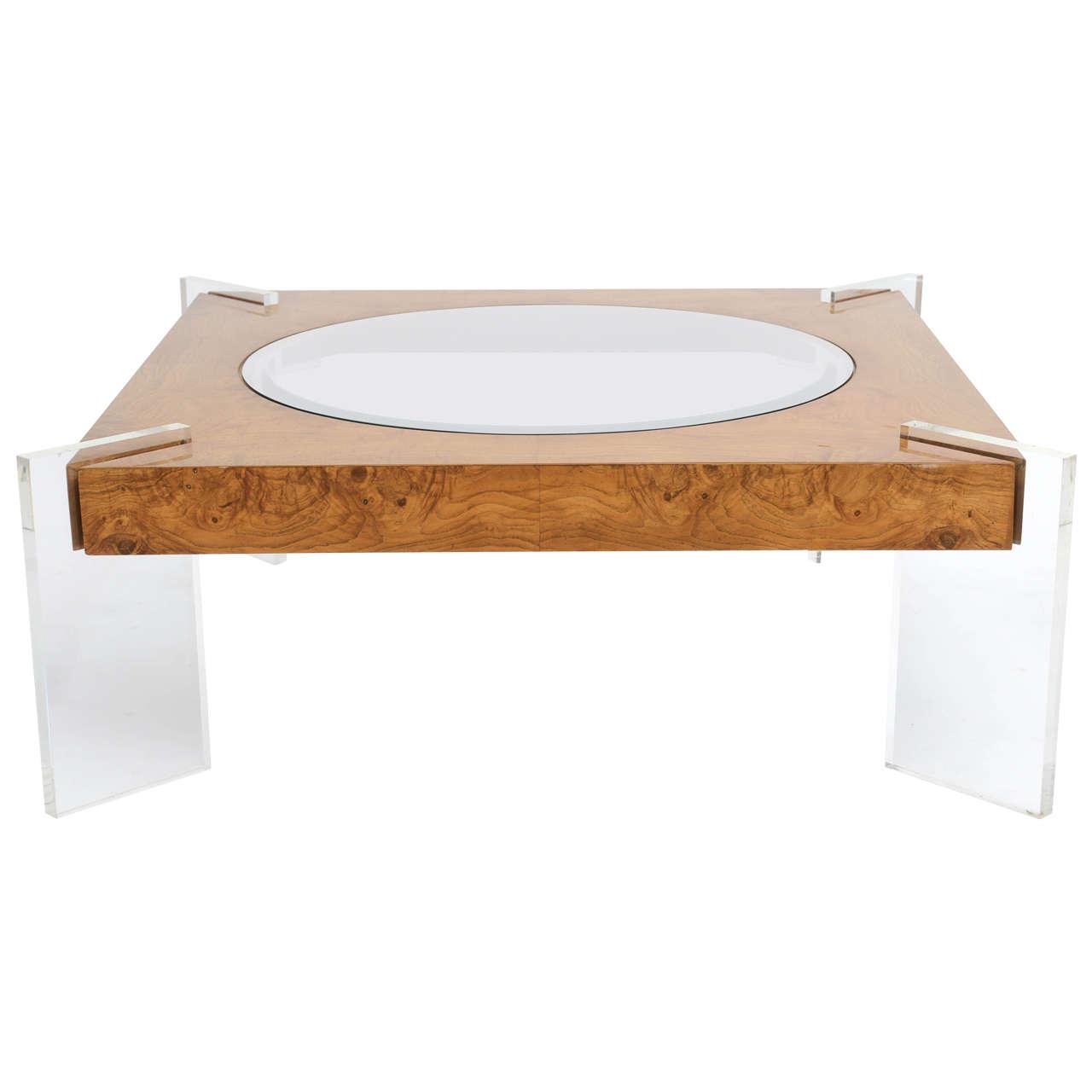Burl Walnut, Lucite and Glass Low Table, Vladimir Kagan