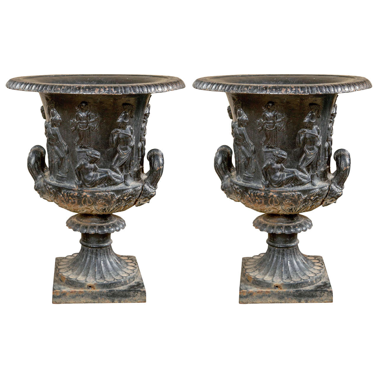 Pair of 19th Century Continental Cast Iron Garden Urns For Sale at