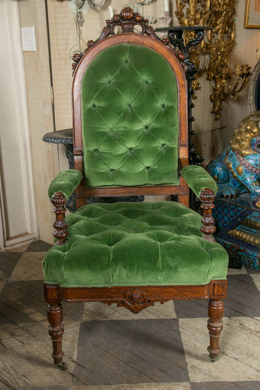 British Set of 8 Victorian Oak Dining Chairs For Sale