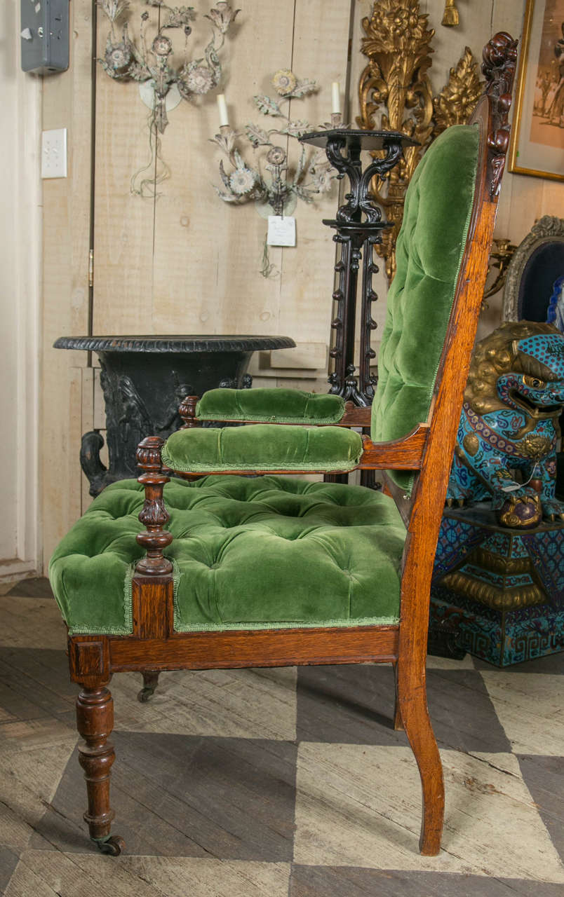 Upholstery Set of 8 Victorian Oak Dining Chairs For Sale
