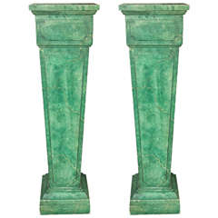 Faux Marble Painted Pedestals