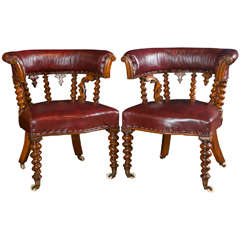 Pair of Carved Oak Library or Desk Chairs
