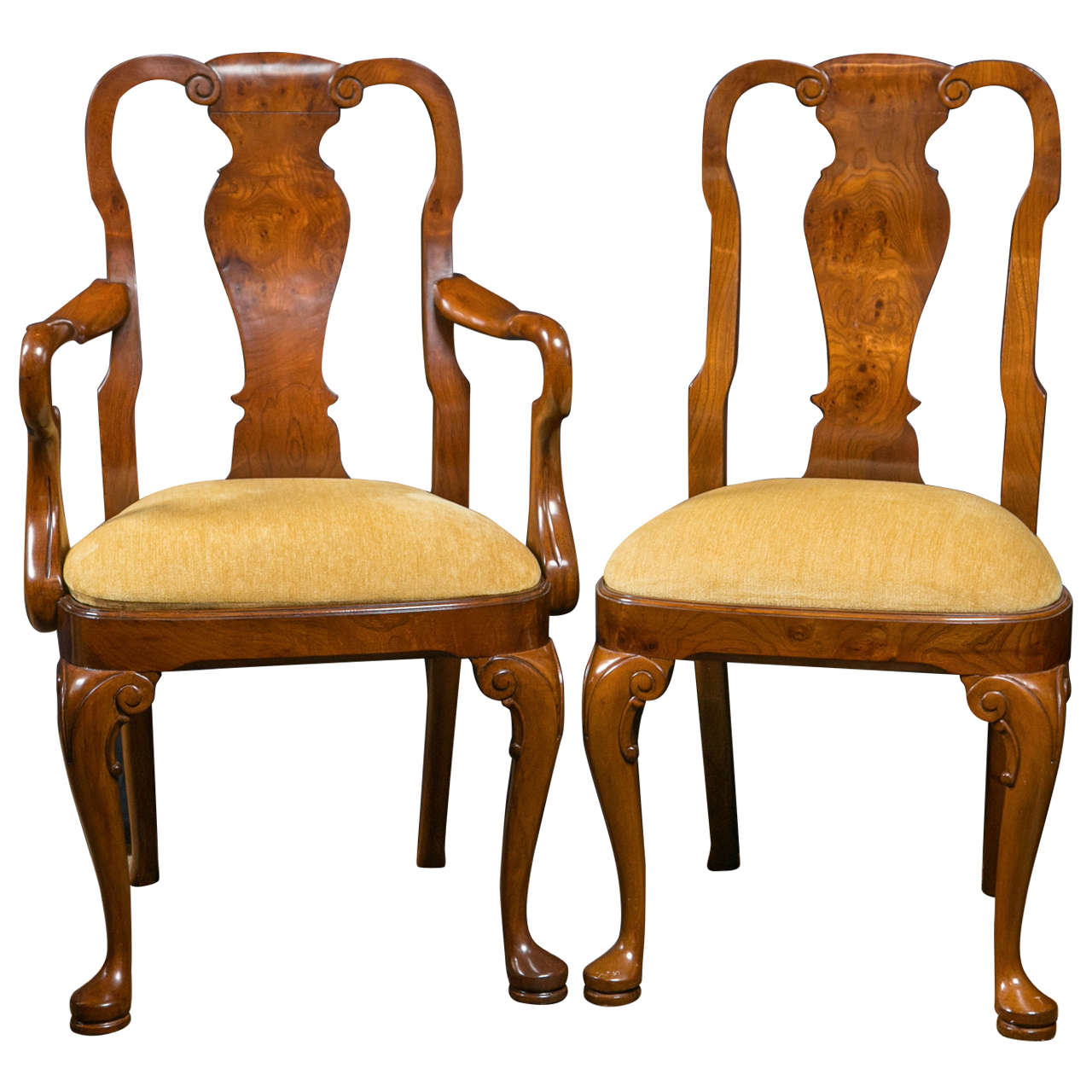 Walnut queen anne style dining chairs for sale at 1stdibs for Dining room chairs queen anne