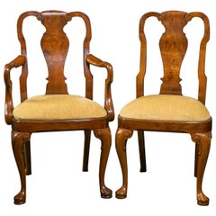 Walnut Queen Anne Style Dining Chairs / 2 Arms and 8 Sides