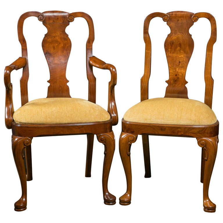 Walnut Queen Anne Style Dining Chairs / 2 Arms and 8 Sides  For Sale