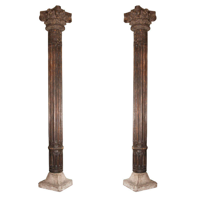 columns pair of monumental wood architectural columns id f 453396