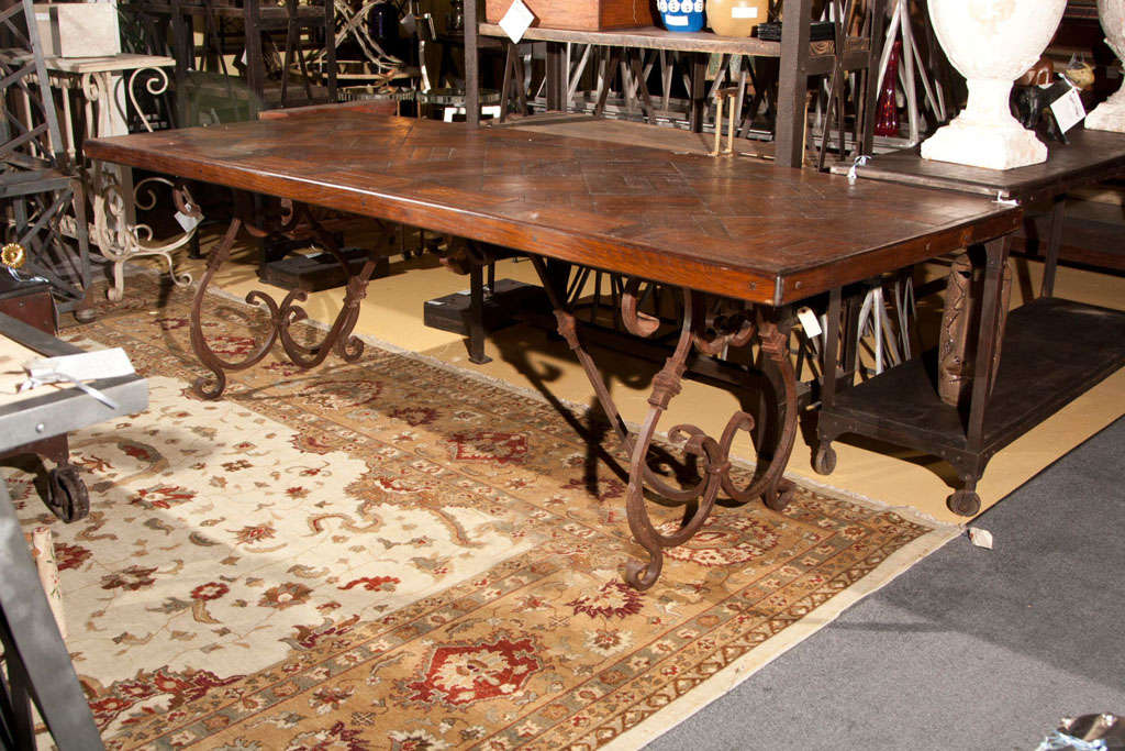 Wrought Iron Base Wood Top Dining Table 2