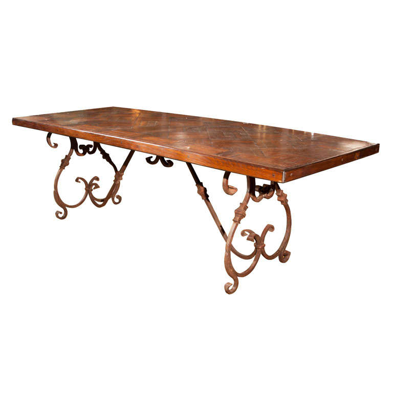 wrought iron base wood top dining table at 1stdibs. Black Bedroom Furniture Sets. Home Design Ideas
