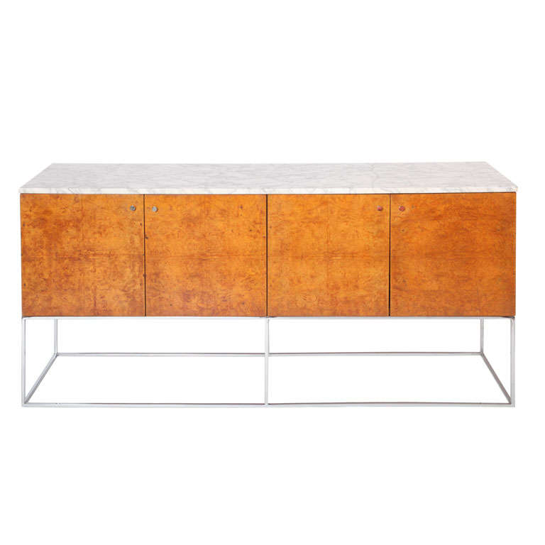 Modern Furniture Ft Lauderdale Floating Buffet in Burl and Carrera Marble by Milo Baughman at 1stdibs